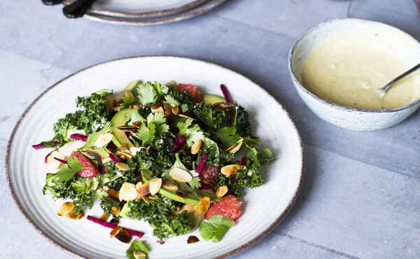 Kale salad with avocado, grapefruit & umami dressing