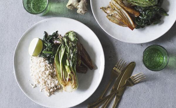 Roergebakken bladgroenten met rijst