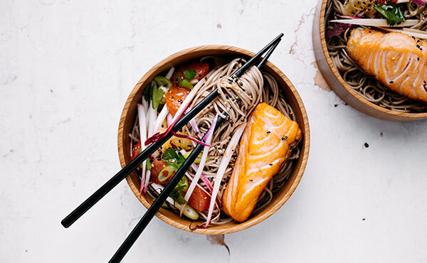 Lighten up with this citrusy Japanese salmon and noodle bowl
