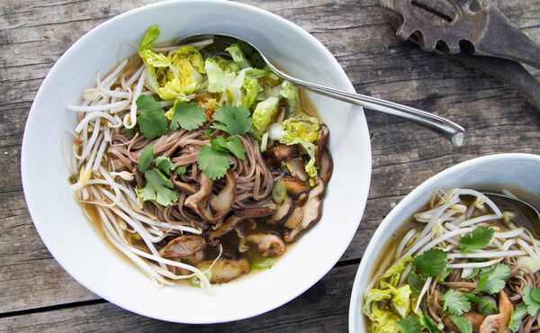 Japanese soba noodle soup with shiitake