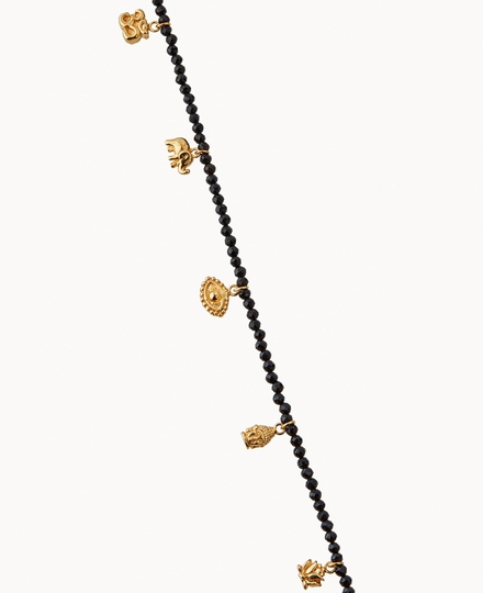Black Onyx Pendant Bead Necklace Gold Plated