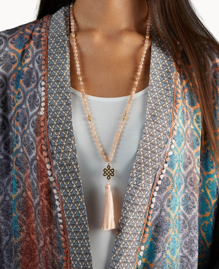 Peach Moonstone Mala Necklace Gold Plated