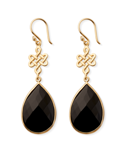 Black Onyx Infinity Earrings Pear Cut Gold Plated