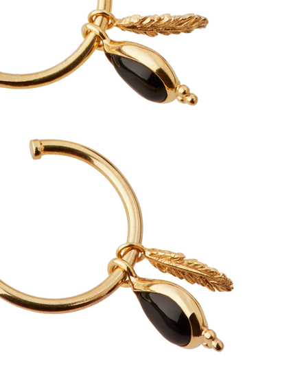 Black Onyx Pendant Hoops Gold Plated