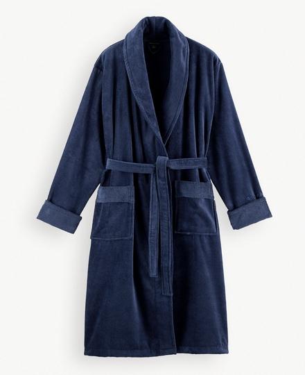 Super Smooth Cotton Bathrobe Men M China Blue