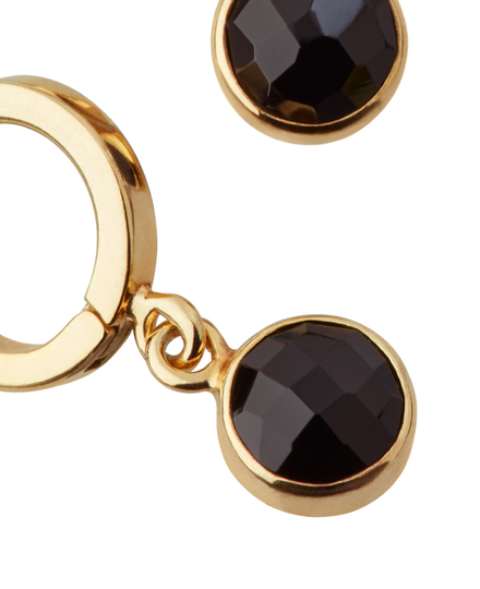Black Onyx Hoops Round Cut Gold Plated