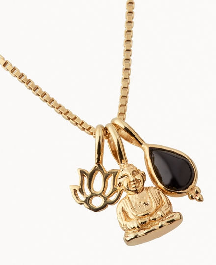 Black Onyx Pendant Necklace Gold Plated