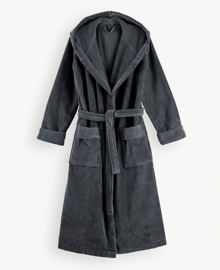 Super Smooth Cotton Bathrobe Women L Charcoal Grey