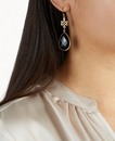 Black Onyx Infinity Earrings Pear Cut Gold Plated
