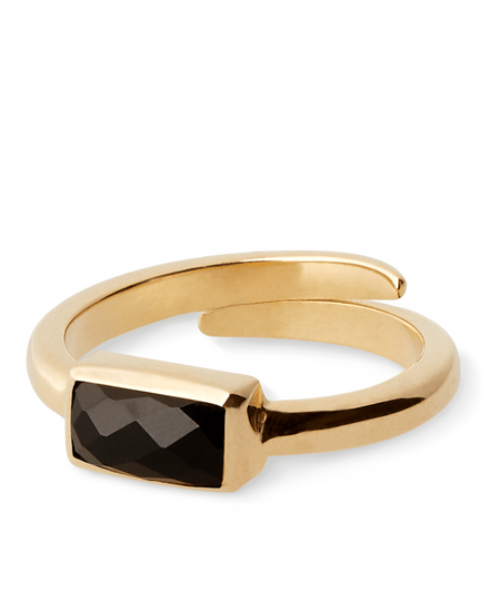 Black Onyx Ring Vintage Cut Gold Plated