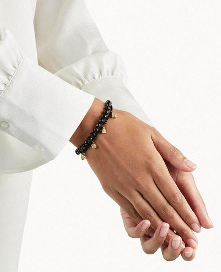 Black Onyx Pendant Bead Bracelet Gold Plated
