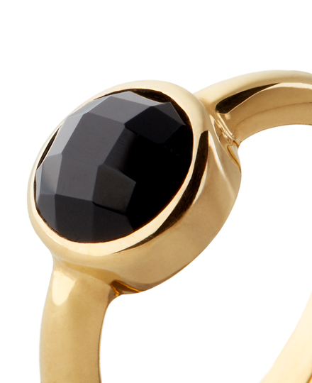 Black Onyx Ring Round Cut Gold Plated