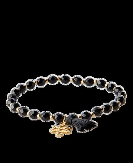 Black Onyx Infinity Bead Bracelet Gold Plated